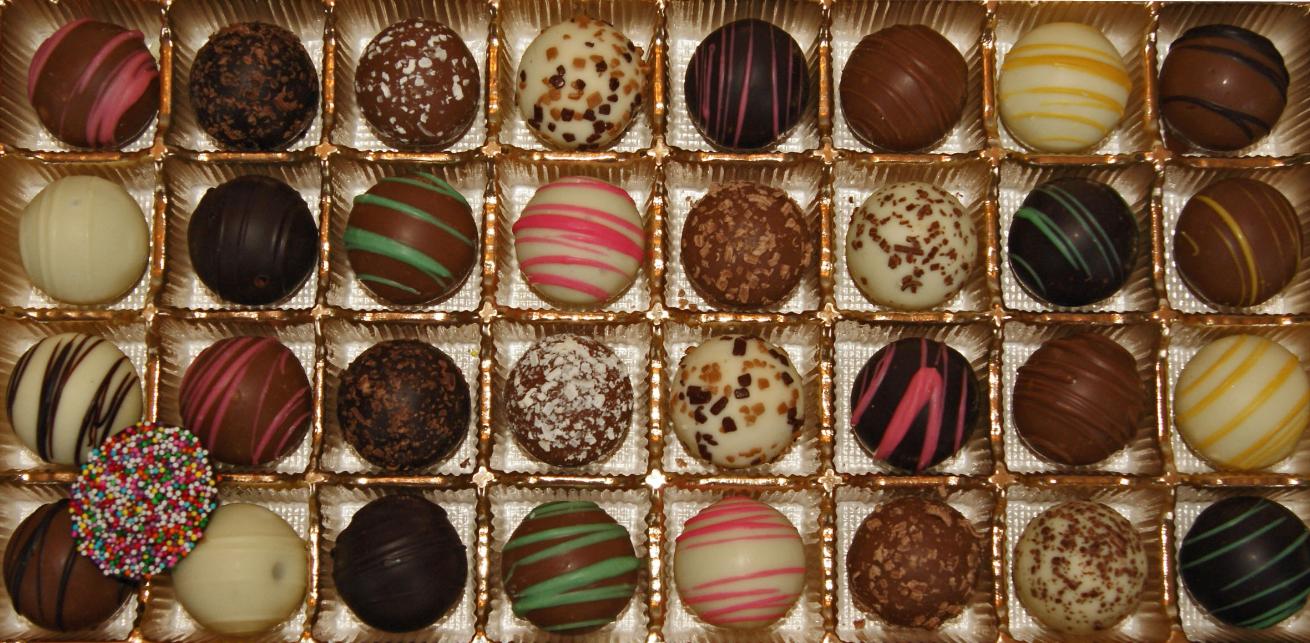 box of handmade chocolate candies