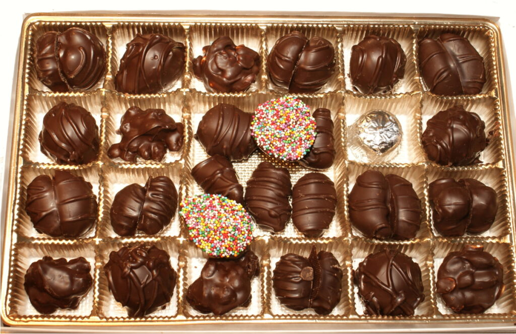 Box of fruit and nut dark chocolates