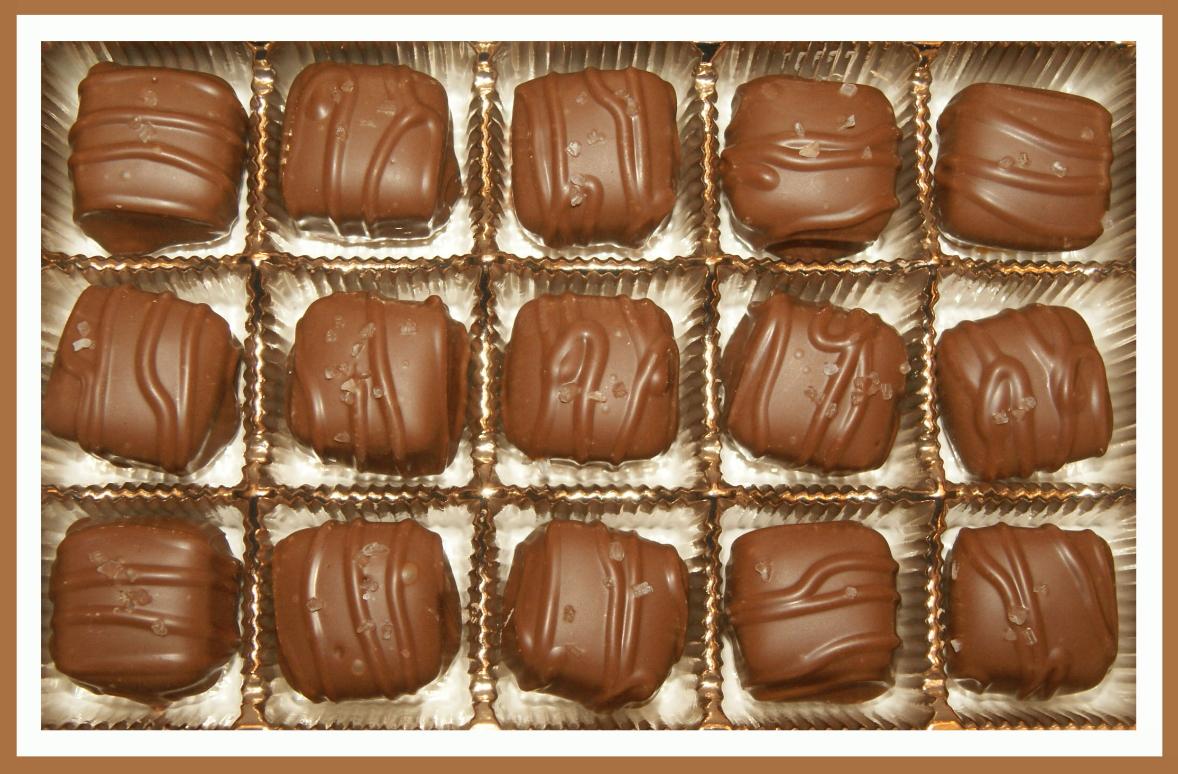 sea salt caramels in chocolate